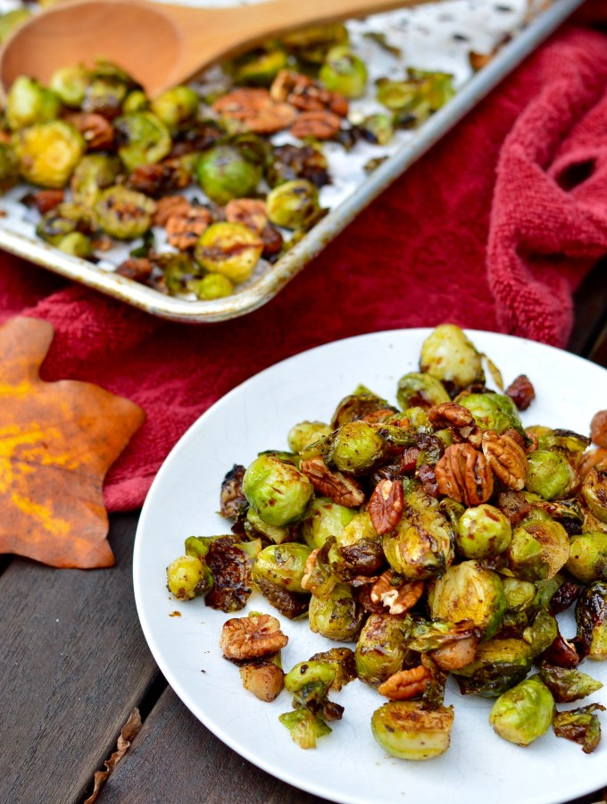 Maple Balsamic Brussels Sprouts with Toasted Pecans & Bacon