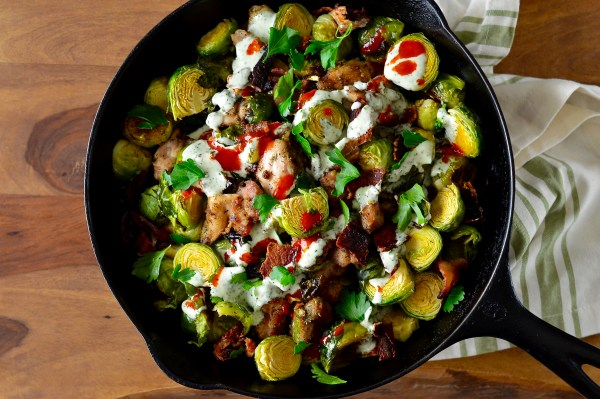 Buffalo Chicken, Bacon & Ranch Skillet with Roasted Brussels Sprouts | Real Food with Dana