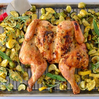 Spatchcocked Chicken with Herbed Ghee Rub