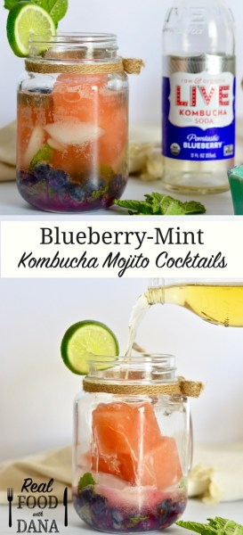 Blueberry Mint Kombucha Mojitos | Real Food with Dana