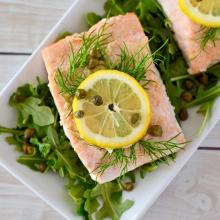 Simple Lemon-Dill Baked Salmon with Caper Aioli