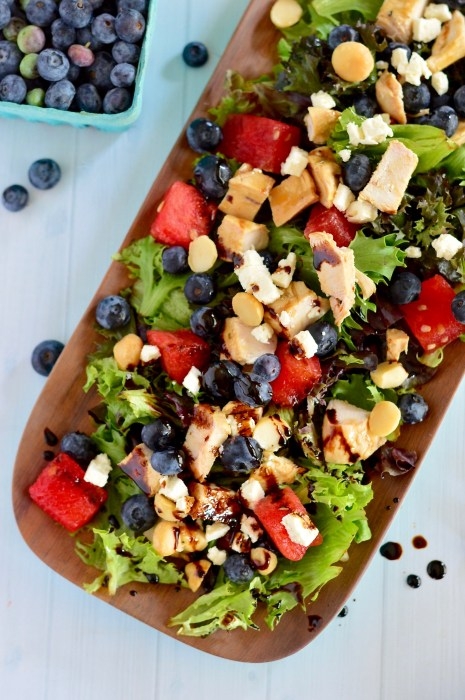 Watermelon, Feta & Blueberry Salad with Honey Balsamic Grilled Chicken | Real Food with Dana