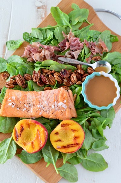 Honey Balsamic Salmon & Grilled Peach Salad | Real Food with Dana