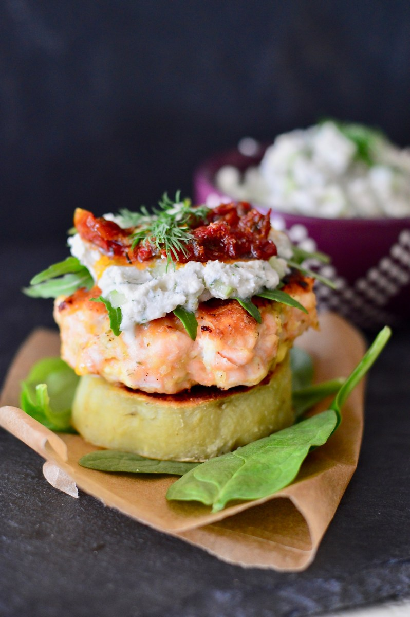 Paleo Salmon Burgers with Tzatziki and Sweet Potato Buns