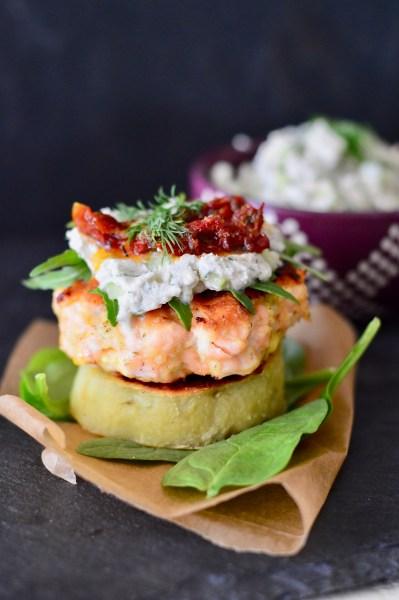Paleo Salmon Burgers with Tzatziki and Sweet Potato Buns