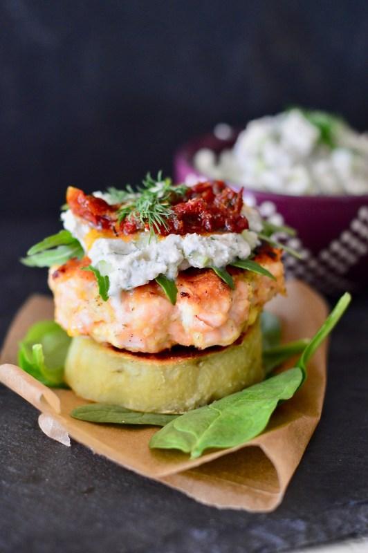 Paleo Salmon Burgers with Dairy-Free Tzatziki and Sweet Potato Buns (Whole30) | Real Food with Dana