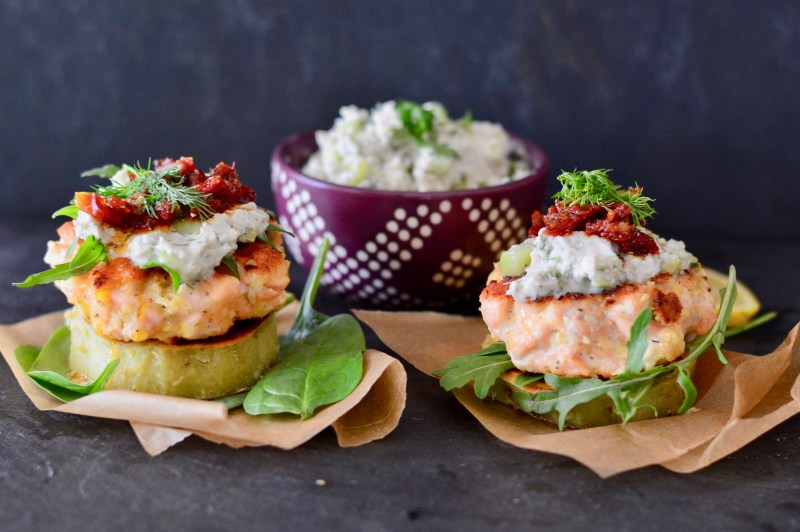Paleo Salmon Burgers with Dairy-Free Tzatziki and Sweet Potato Buns (Whole30) | Real Food with Dana