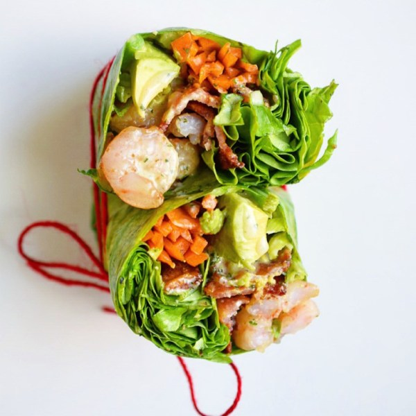 Shrimp & Bacon Breakfast Wrap with Garlic Cilantro Sauce | The Castaway Kitchen