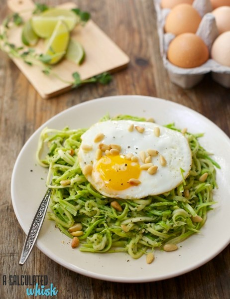 Squash Noodles with Everything Pesto (and an egg on top!) | A Calculated Whisk