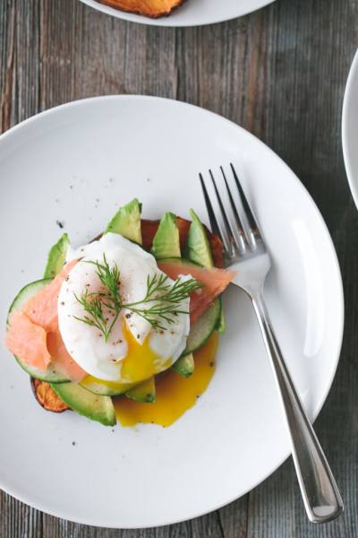 "Sweet Potato ""Toast"" with Avocado, Smoked Salmon & Poached Egg 