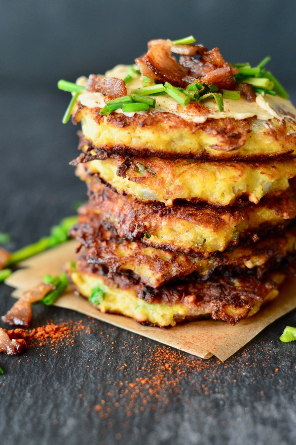 Spaghetti Squash Fritters with Bacon and Chipotle-Lime Mayo | Real Food with Dana