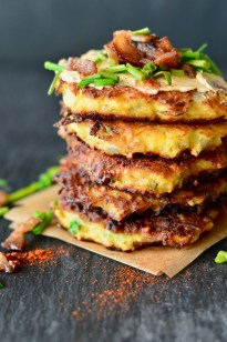 Primal Kitchen Chipotle Lime Mayo spaghetti squash fritters with bacon & chipotle-lime mayo ~ real