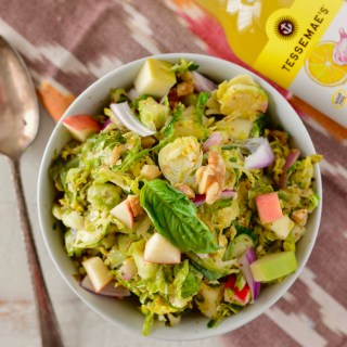 Warm Brussels Sprouts Slaw with Apples & Walnuts