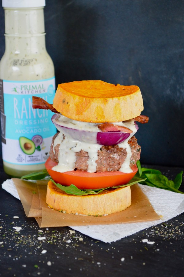 BLT Ranch Chicken Burgers with Sweet Potato Buns | Real Food with Dana