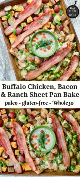 Buffalo Chicken, Bacon & Ranch Sheet Pan Bake {Paleo, Whole30} | Real Food with Dana