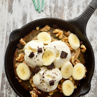 It's my (blog's) 3rd Birthday!! Single-Serve Chocolate Chip Banana Bread Skillet Cookie (Paleo)