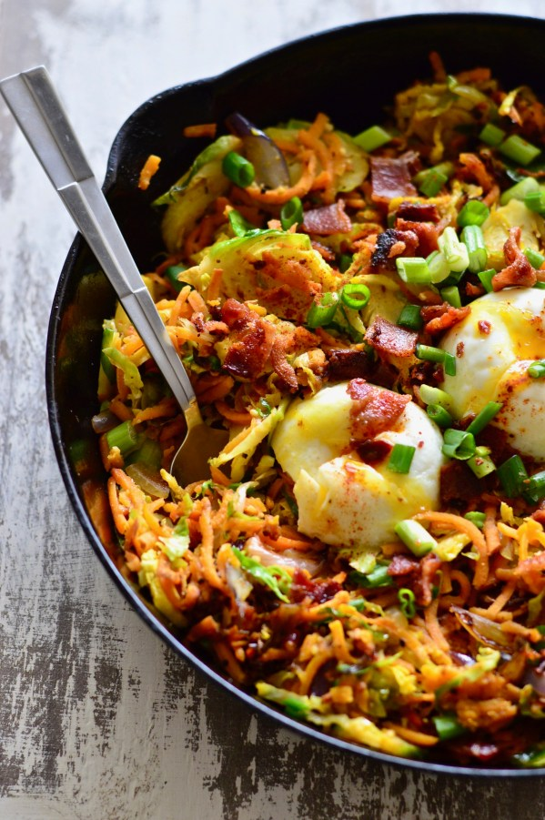 Sweet Potato & Brussels Sprouts Hash with Bacon (Whole30) | Real Food with Dana