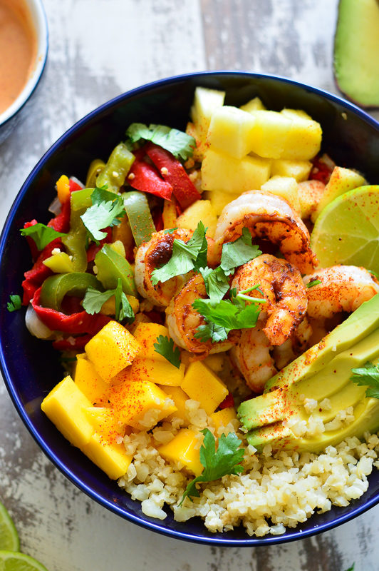 Pineapple Chipotle Shrimp Cauliflower Rice Bowls | Real Food with Dana
