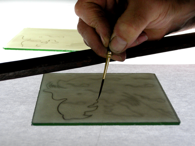 Stained glass painting: try tracing with just the tip of your brush