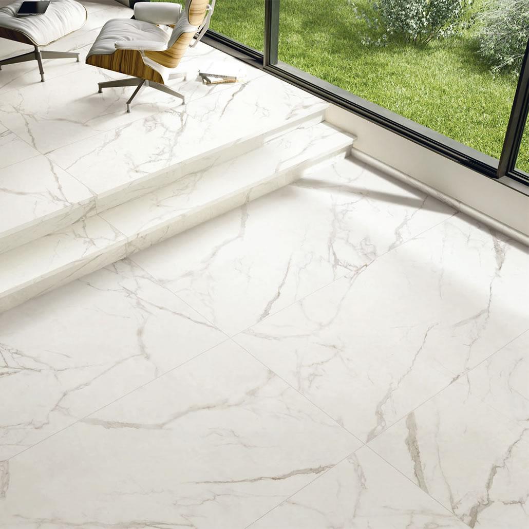 carrara white marble gloss tile realgres