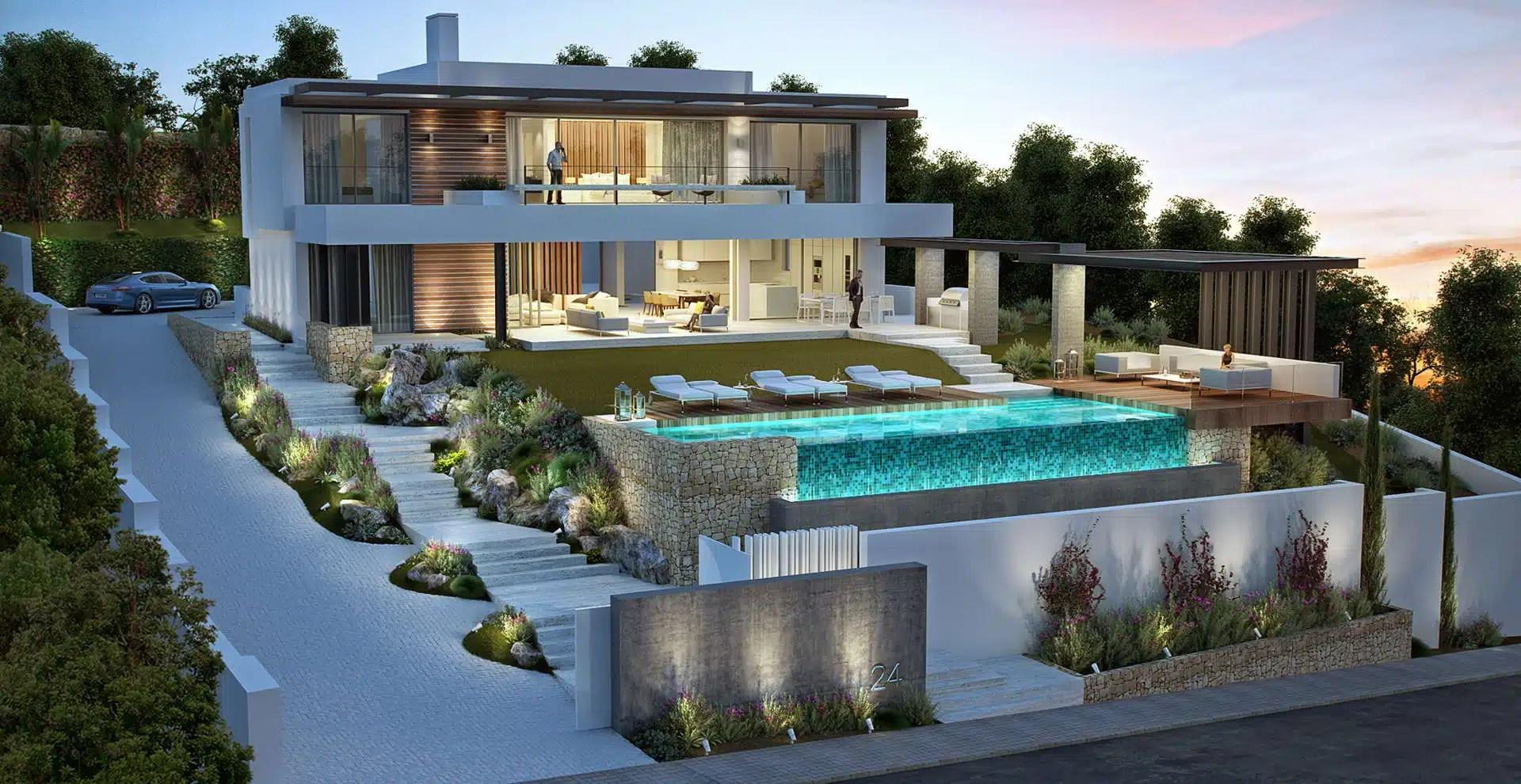 New contemporary villa for sale Capanes La Alqueria Benahavis  Realista