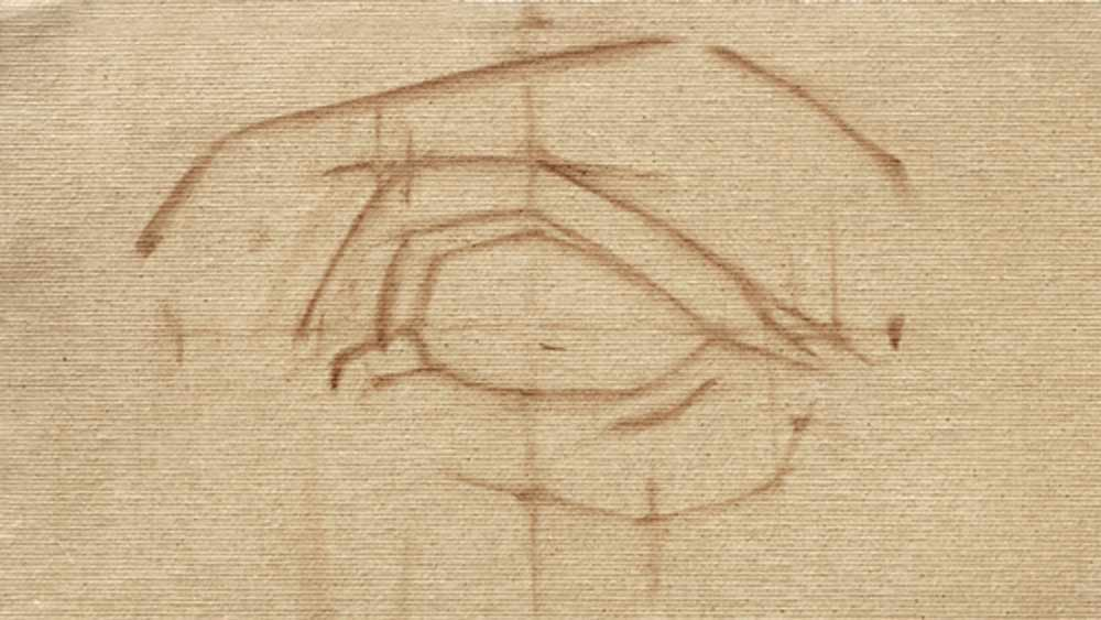 Online portrait painting course burnt umber wash drawing of an eye