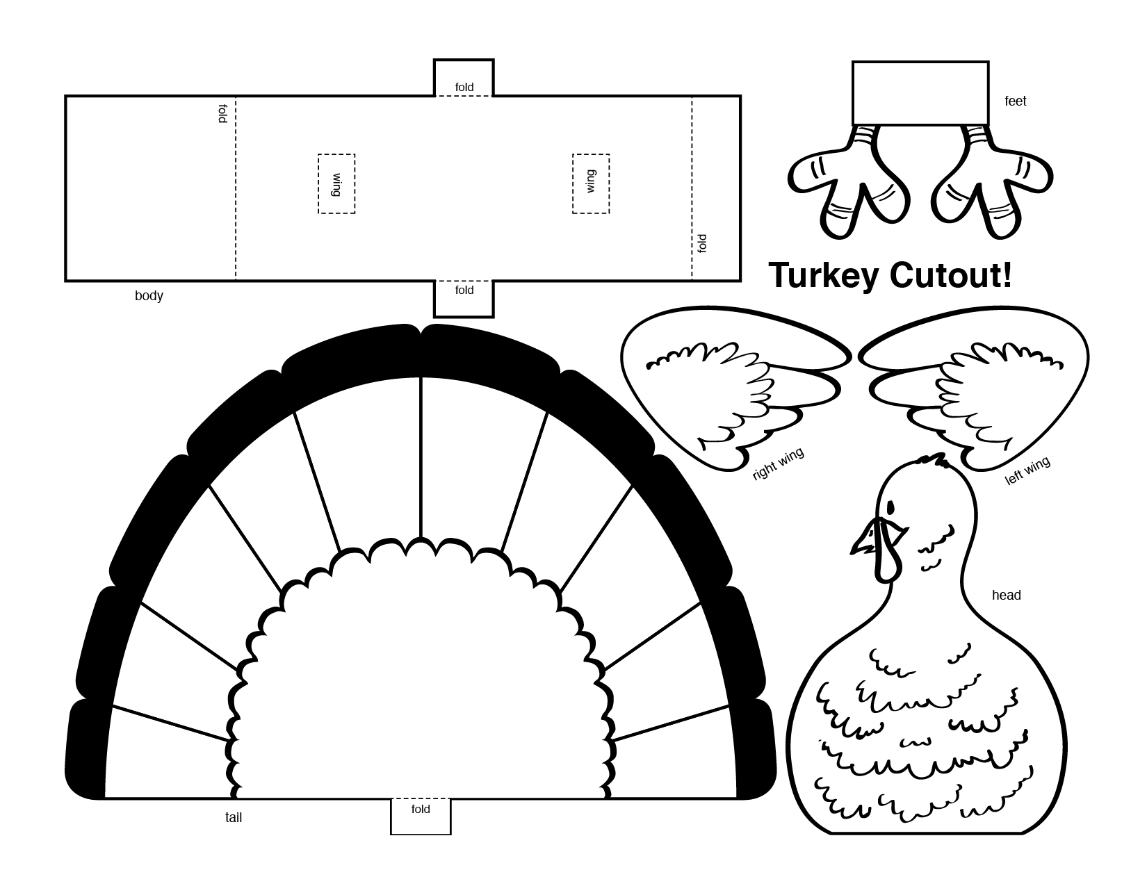 thanksgiving 3d turkey cutout downloadable art project for kids