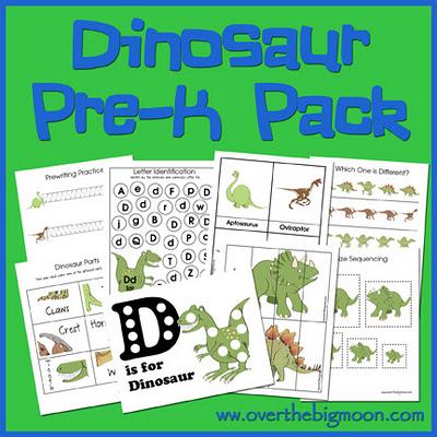 pre k dinosaur prinable pack