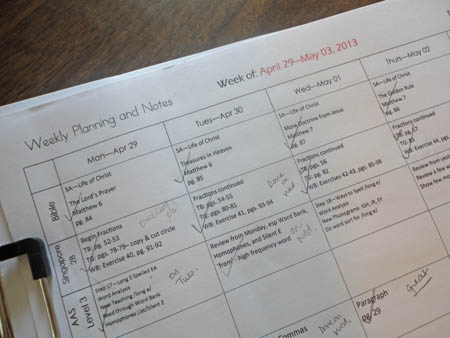 Homeschool Planning Page