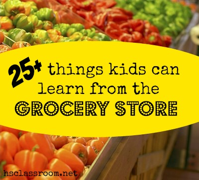 Looking for learning opportunities while shopping at the grocery store? Here are 25+ Things Kids Can Learn from the Grocery Store | Real Life at Home