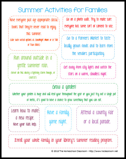 summer activities printable