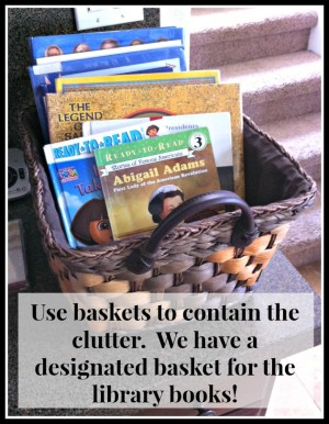 Library Basket {How to Keep Your House Clean While Homeschooling}