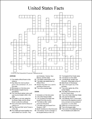 US State Facts Crossword Puzzle  Free Social Studies and