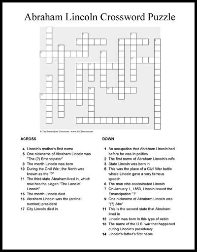 Abraham Lincoln Crossword Puzzle Printable