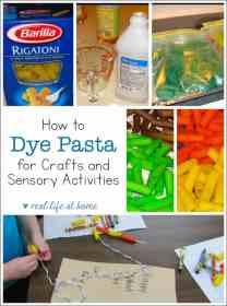 a step by step tutorial (with pictures) of how to dye pasta for pasta crafts and sensory activities to use with kids for some easy and inexpensive fun and learning. | Real Life at Home