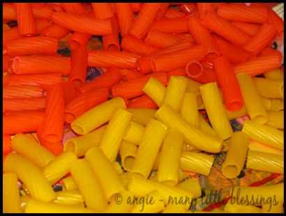 dyed pasta craft orange