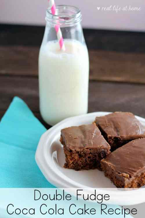 Looking for a rich and delicious chocolate cake to feed a crowd? This wonderful Double Fudge Coca Cola Cake just might be the perfect fit! This chocolate sheet cake is easy to make and is sure to be a hit for dessert!   Real Life at Home