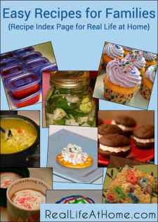 Easy Recipes for Families at Real Life at Home {Visual Recipe Index}