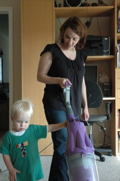 vacuuming with Mommy