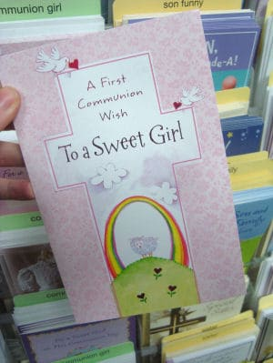 First Communion card for a girl