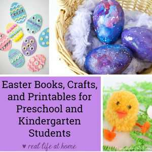 Here is an excellent collection of Easter books, crafts, recipes, printables, and more for preschoolers and kindergarteners. This collection includes both religious crafts and books, as well as fun spring ideas.