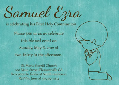 Blue First Communion Boy Invitation