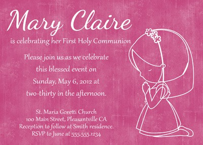 First Communion Girl Invitation in Pink
