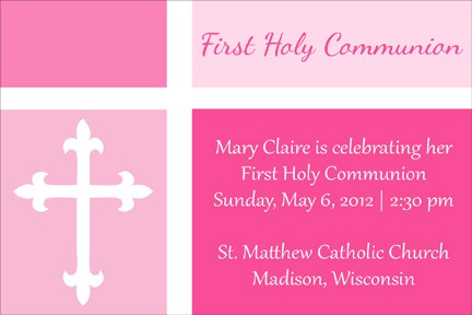 Free First Communion Color Blocked Invitation in Pink