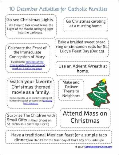 December Activities for Catholic Families