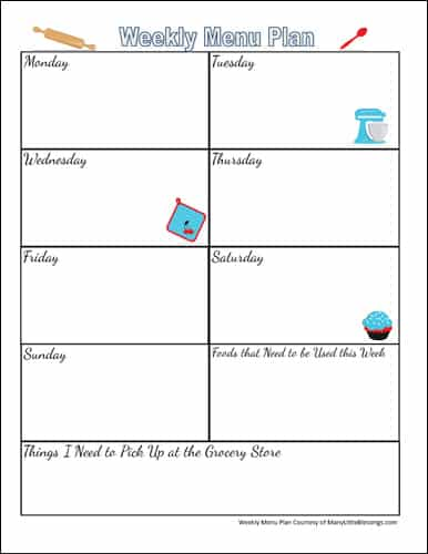 Free Planning Page for a Weekly Menu Plan