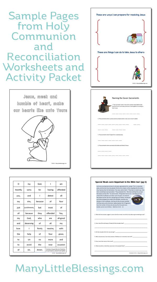 sample pages from Holy Communion and Reconciliation Worksheets and Activity Packet