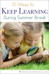 Looking for learning activities for the summer? Here are 10 ideas for fun supplemental learning ideas to keep kids actively engaged during the summer months.