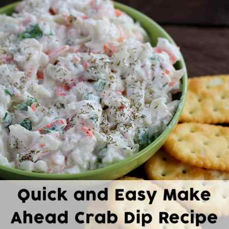 This four ingredient easy crab dip recipe is perfect for parties and gatherings, especially since it can be made the night before the event!