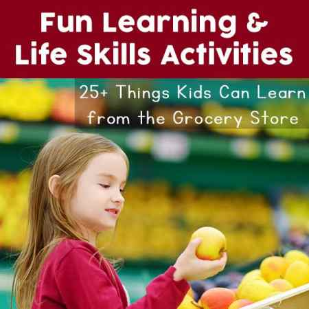 Fun grocery store learning activities and opportunities for kids while shopping at the grocery store, as well as things you can do at home to further your grocery store learning. Excellent for real world learning and life skills training for children.